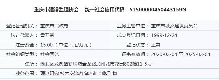 重庆监理协会(重庆市建设监理协会)基本信息